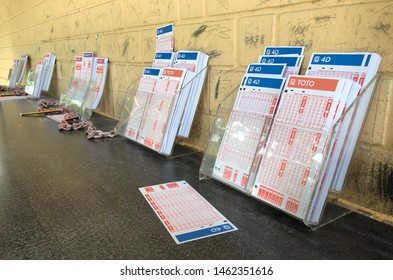 Singapore:26 July 2019: 4D and TOTO Bet slip of Singapore Pools, a state-owned lottery subsidiary company in Singapore.