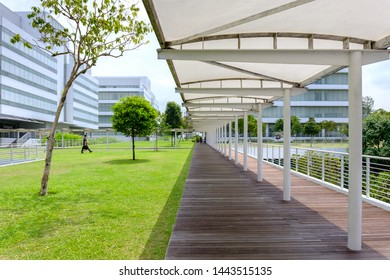 Singapore-27 JUN 2019:Singapore Republic Polytechnic roof garden shelter corridor