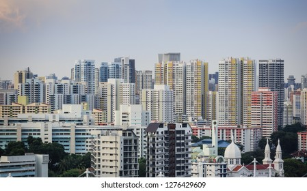 SINGAPORE-28 DEC 2018: Singapore residential HDB building skyline