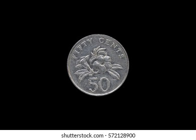 Singaporean 50 cent coin year 1995 isolated on black background