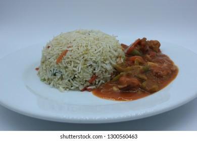 Singaporean rice with Shashlik