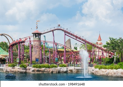 SINGAPORE-April 14: beautiful castle and roller coaster in Universal studio on April 14,2014. Universal Studios Singapore is theme park located within Resorts World Sentosa,Singapore.