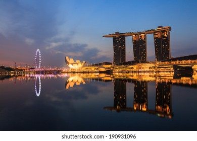 SINGAPORE-April 14: The Marina Bay Sands Resort Hotel on April 14, 2014 in Singapore. It is an integrated resort and the world's most expensive standalone casino property at S$8 billion.