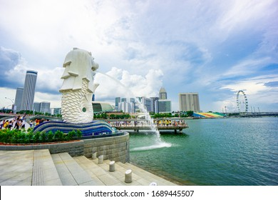 singapore,april 2020;Singapore merlion with beautiful scenery  city and tourist travelling during holiday.