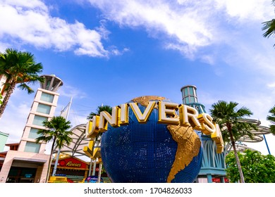 Singapore,April 2020;Universal studio with Sentosa park during sunny day. it have a theme park, sand beach, resort, yacht marina. famous place for tourist and relax.