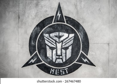 singapore-April 28,2015:transformer logo (autobot) in wall at Sci-Fi City TRANSFORMERS The Ride,universal studio,singapore