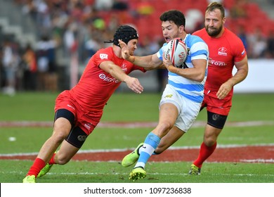 SINGAPORE-APRIL 29: An action during Day 2 of HSBC World Rugby Singapore Sevens between Rusia and Argentina on April 29, 2018 at National Stadium in Singapore