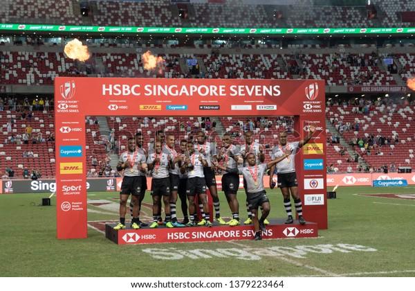 Singaporeapril 29 Fiji 7s Team Celebrates Stock Photo (Edit