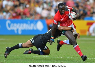 SINGAPORE-APRIL 29: Match between New Zealand All Blacks and Kenya during Day 2 of HSBC World Rugby Singapore Sevens on April 29, 2018 at National Stadium in Singapore