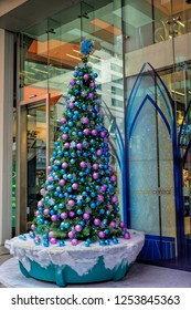 SINGAPORE-DEC 3, 2018: Christmas Decoration at Singapore Orchard Road. The street with christmas trees, baubles, ball & dressed-up shopping centres. Theme of this year is Disney Magical Moments.