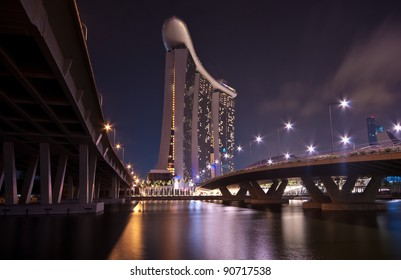 SINGAPORE-FEB 26: Marina Bay Sands Resort Hotel at night  on Feb 26, 2011 in Singapore. It is billed as the world's most expensive standalone casino property at S$8 billion.
