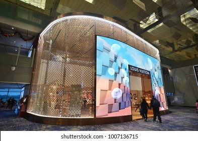 SINGAPORE-JAN 08, 2018: Louis Vuitton LV outlet in Changi Airport, Singapore. The Louis Vuitton company operates with more than 460 stores worldwide.