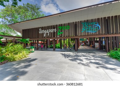 SINGAPORE-JAN 10, 2016: Entrance to Singapore Zoo, or Zoological Gardens, or locally is Mandai Zoo. There are about 315 species of animal in the zoo, attracts about 1.7 million visitors each year