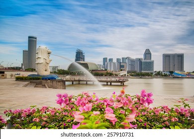 SINGAPORE-JAN 31, 2015: The Merlion fountain in front of the Marina Bay Sands hotel in Singapore. Merlion is a imaginary creature with the head of a lion,seen as a symbol of Singapore ,50SG