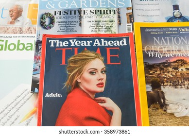 SINGAPORE-JAN 5, 2015: Close-up view stack of variety Newspapers, Financial and Lifestyle magazines, they are complementary on the international flight of Singapore Airlines, flag carrier of Singapore
