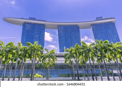 SINGAPORE-JANUARY 25,2020:Marina bay sands hotel in Singapore , this iconic place will blow your mind such an amazing buildings and famous landmarks