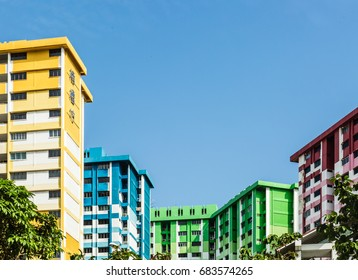 SINGAPORE-JUL 22 2017:colorful Singapore HDB residential building,Rochor centre,the chinese is the building name translate