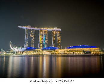 SINGAPORE-JULY 16 : Beautiful Vivid View Marina Bay Sands Resort Hotel on July 16, 2017 in Singapore. It is a Boat Shape Building. It is Locate by the River in the Center Area in Singapore