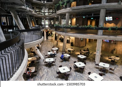 SINGAPORE-JULY 26, 2016_Interior of The Hive, called Dim Sum Basket Building, at Nanyang Technological University (NTU). The building was awarded the Green Mark Platinum in 2013