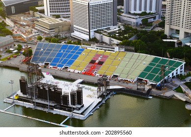 SINGAPORE-JUN 25: The Float at Marina Bay on June 25, 2014 in Singapore. It is also known as the Marina Bay Floating Platform and is the world's largest floating stage.