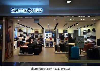SINGAPORE-JUNE 17, 2018:  Samsonite store in Singapore. Samsonite International S.A. is an American luggage manufacturer and retailer
