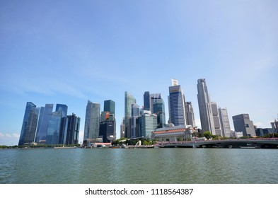 SINGAPORE-JUNE 17, 2018: Singapore city skyline or cityscape and financial district financial hub with blue sky in daytime.