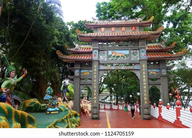 SINGAPORE-JUNE 23, 2018: View of Haw Par Villa gardens in Singapore. The park contains over 1,000 statues and 150 giant dioramas depicting Chinese mythology and folklore.