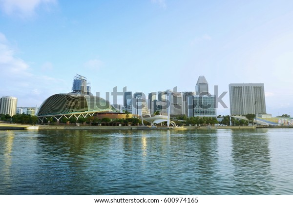SINGAPORE-MARCH 03,2017: Esplanade - Theaters on the Bay. Skyline in Downtown at Marina Bay Financial Center in Singapore.