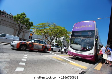 SINGAPORE-MAY 04: SBS bus travel on the Singapore's Chinatown on September 04, 2014 in Singapore. SBS Transit Limited is a of the largest public transport operator in Singapore.