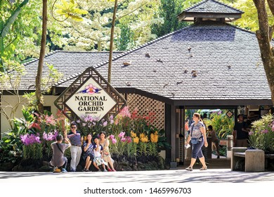 SINGAPORE-MAY 22, 2019_People visit The National Orchid Garden. The Garden is located on the highest hill in the Singapore Botanic Gardens. Providing a place for 60,000 orchid plants