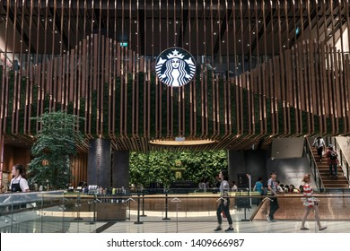 SINGAPORE-MAY 22, 2019_Starbucks coffee shop in Jewel Changi Airport, a mixed-use development at Changi Airport in Singapore, opened on 17 April 2019. Starbucks is the world's largest coffee house.
