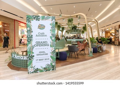 SINGAPORE-MAY 22, 2019_The Cafe Amazon's first flagship store outside Thailand in The Jewel Changi Airport. Café Amazon is a popular Thai coffee chain with over 2,000 outlets in the Land of Smiles.