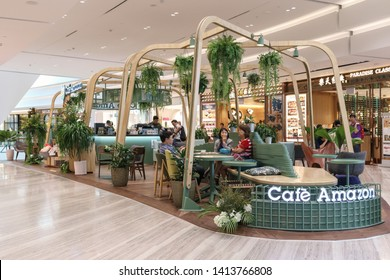 SINGAPORE-MAY 22, 2019_The Café Amazon's first flagship store outside Thailand in The Jewel Changi Airport. Café Amazon is a popular Thai coffee chain with over 2,000 outlets in the Land of Smiles.