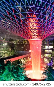 SINGAPORE-MAY 22, 2019_The HSBC Rain Vortex, the world's largest indoor waterfall at 40m tall, in Jewel Changi Airport, a mixed-use development at Changi Airport in Singapore, opened on 17 April 2019