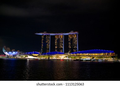 SINGAPORE-MAY 28: Business and office building around Marina bay at night on 28 may 2018 in Singapore, Marina bay is famous cityscape and landmark of Singapore