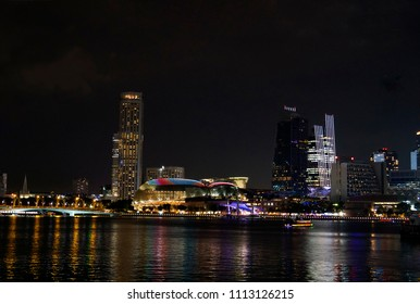 SINGAPORE-MAY 28: Business and office building around Marina bay at night on 28 may 2018 in Singapore, Marina bay is famous city scape and landmark of Singapore