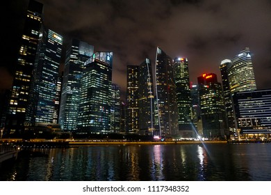 SINGAPORE-MAY 28: Business and office building around Marina bay at night on 28 may 2018 in Singapore, Marina bay was famous landmark of Singapore