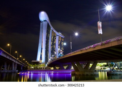 SINGAPORE-MAY 9: The Marina Bay Sands Resort Hotel on May 9, 2015 in Singapore. It is an integrated resort and the world's most expensive standalone casino property at S$8 billion.