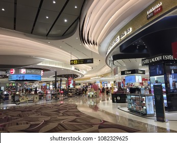 SINGAPORE-May1: Departure hall in Terminal 4 in Changi Airport, Singapore on May 1, 2018. This is a new terminal which is the most use of high technology.