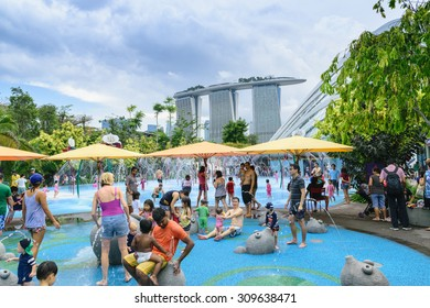 Singapore,May,30th,2015:On a hot day and a public holiday in Singapore's popular family vacation tog at Children's garden at Garden by the bay
