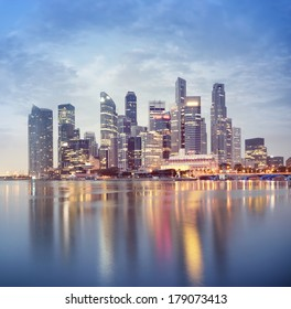 Singapore`s business district at night.