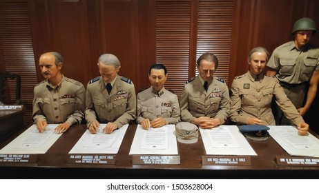 Singapore-Sep 06, 2019: Surrender Chamber at Sentosa. It depicted the formal Japanese surrender to the British in 1945 through wax models