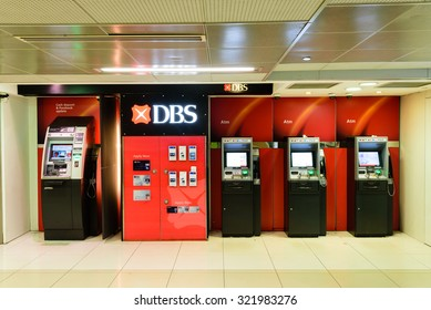 SINGAPORE-SEP 27, 2015: DBS ATM machine located in the Raffles Place MRT station in Singapore. The Development Bank of Singapore Limited (DBS) is the largest bank in South East Asia