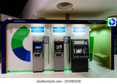 SINGAPORE-SEP 27, 2015: Standard Chartered ATM machine located on the Battery Road, Raffles Place It  is a London-based, international bank with significant operations in Asia