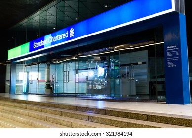 SINGAPORE-SEP 27, 2015: Standard Chartered office located on the Battery Road, Raffles Place It  is a London-based, international bank with significant operations in Asia