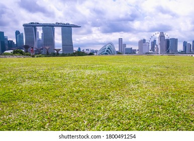 Singapore,Singapore - 30 September 2017 : Recreation area in Marina Barrage. A dam in Singapore with Singapore city view where people are social gathering.