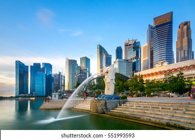 SINGAPORE,SINGAPORE - 7 JANUARY, 2017 : The Merlion is a traditional creature with a lion head and a body of a fish, seen as a symbol of Singapore.