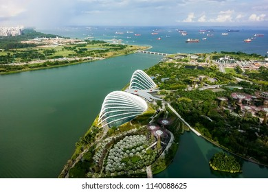 SINGAPORE,SINGAPORE - AUG. 27 : ingapore  aerial view on Auguest 27,2017 in Singapore,Singapore. It is a global commerce, finance and transport hub and has a diversity of languages,religions,cultures.