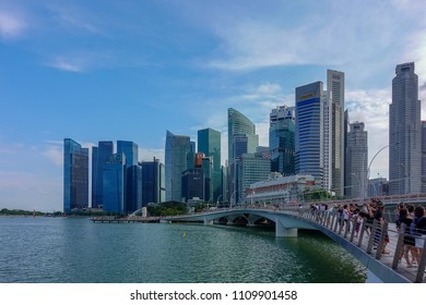 SINGAPORE,SINGAPORE - AUG. 27 : Singapore city facade on Auguest 27,2017 in Singapore,Singapore. It is a global commerce, finance and transport hub and has a diversity of languages,religions,cultures.