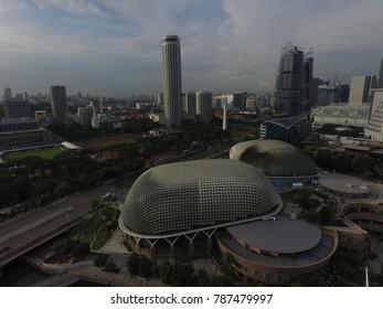 SINGAPORE,SINGAPORE - CIRCA March 2017 :esplanade and swiss tower hotel